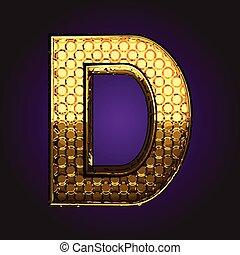 dourado, vetorial, d, letra
