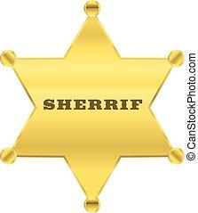 dourado, vetorial, desenho, estrela, sherrif