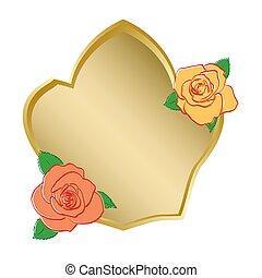 dourado, vetorial, -, escudo, rosas