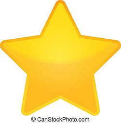 dourado, vetorial, estrela