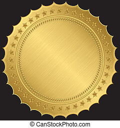 dourado, vetorial, etiqueta, em branco