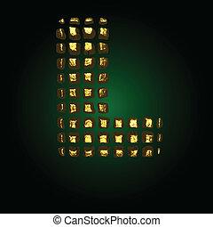 dourado, vetorial, l, letra