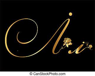 dourado, vetorial, letra, i