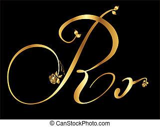 dourado, vetorial, letra, r