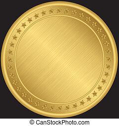 dourado, vetorial, medalha