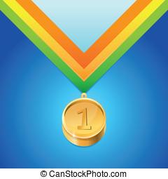 dourado, vetorial, medalha, número, primeiro