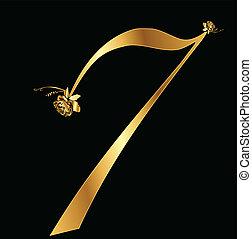 dourado, vetorial, numere 7, rosas
