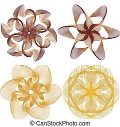 dourado, vetorial, ornamento, cobrança