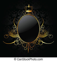 dourado, vetorial, real, frame., fundo