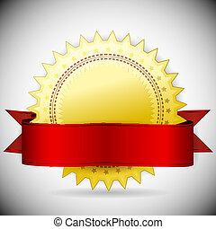 dourado, vetorial, tape., vermelho, etiqueta