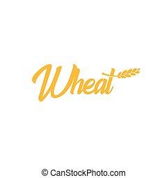 dourado, vetorial, trigo, illustration., cor, farinha, logotype, production., emblem., sinal, luminoso, cob, grão, cevada, colheita, ícone, arroz, agricultura, aveia, logotipo, pão