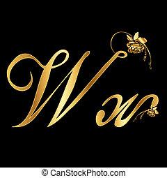 dourado, vetorial, w, letra, rosas
