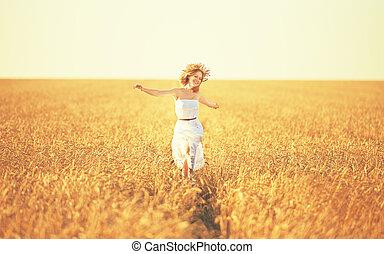 dourado, vida, mulher, trigo, jovem, campo, desfrutando, feliz