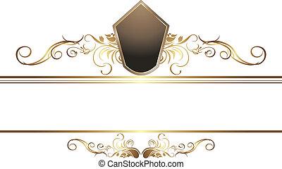 dourado, vindima, elemento, para, borda