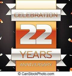 dourado, vinte, aniversário, anos, experiência., dois, prata, fita, celebração