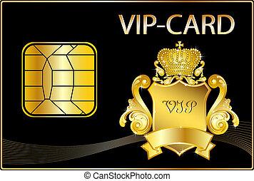 dourado, vip, inteligência, crista, cartão