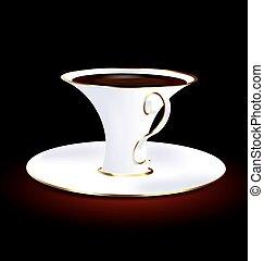 dourado, xícara branca