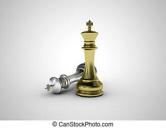 dourado, xadrez, rei, ficar, -, conceito negócio