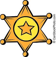 dourado, xerife, protagonize distintivo, ícone, ícone, caricatura