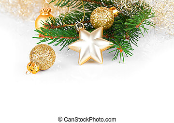 dourado, xmas, decoração, com, espaço cópia