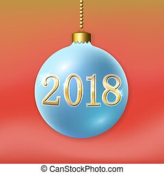 dourado, xmas, ouro, decoração, luminoso, ano, design., azul, isolado, experiência., 2018, novo, bauble, feriado, bola, natal, vermelho, feliz, number., ilustração, feliz, celebração, vetorial, 3d