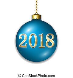 dourado, xmas, ouro, decoração, luminoso, ano, design., azul, isolado, experiência., 2018, novo, bauble, feriado, bola, natal, feliz, number., ilustração, feliz, branca, celebração, vetorial, 3d