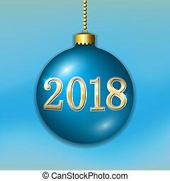 dourado, xmas, ouro, decoração, luminoso, ano, design., azul, isolado, experiência., 2018, novo, bauble, feriado, bola, natal, feliz, number., ilustração, feliz, celebração, light-blue, vetorial, 3d