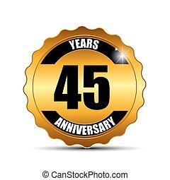 dourar, aniversário, ilustração, sinal, vetorial, modelo, etiqueta