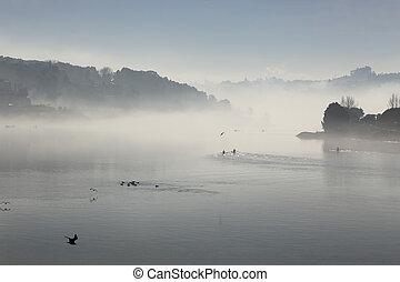 douro, brumeux, rivière