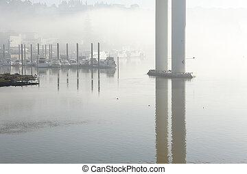 douro, brumeux, rivière, marina