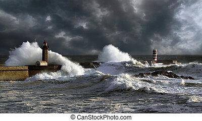 douro, kikötő, napnyugta, viharos