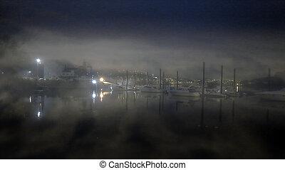 douro, marina, rivière, nuit