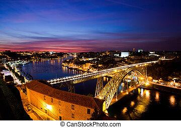 douro, nuit, portugal, sur, porto, luis, rivière, pont