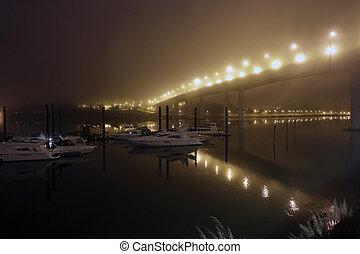 douro, nuit, rivière