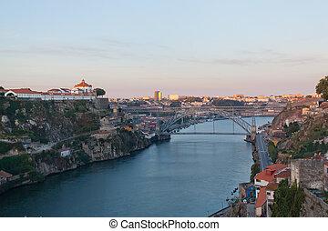 douro, porto, city., vue, rivière, portugal., remblai