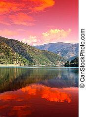 douro, région, rivière, levers de soleil