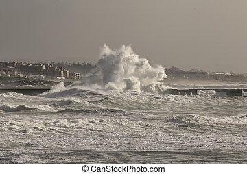 douro, rivière, bouche, mer, orage