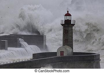 douro, rivière, bouche, orage