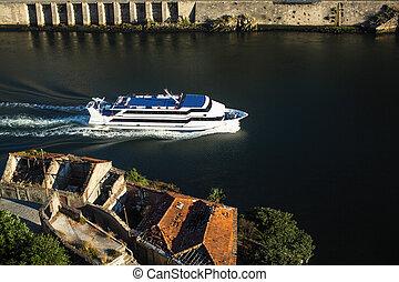 douro, rivière, portugal., porto, vue