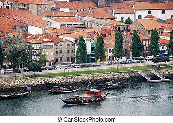 douro, wino, łódki, portugal), rzeka, (porto