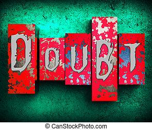doute, mot, spectacles, mélancolie, fatalistic, 3d,...