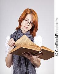 douter, mode, vieux, jeune, livre, girl, lunettes