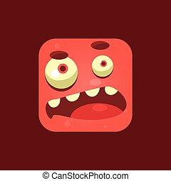 douteux, emoji, monstre, rouges, icône