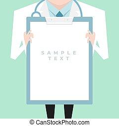 doutor, agasalho, mostrando, laboratório, área de transferência, segurando, em branco, document.