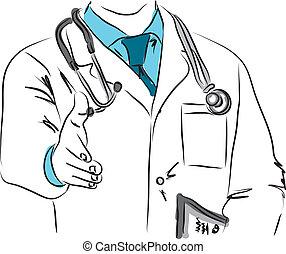 doutor, agitação, ilustração, mãos
