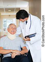 doutor amigável, com, paciente