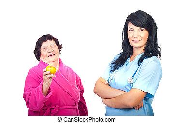 doutor amigável, e, saudável, paciente