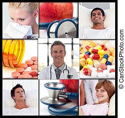 doutor, amigável, vidro água, esfregações, pílulas