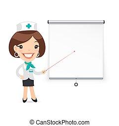 doutor, apresentando, laser, ponteiro, tela projetor, senhora