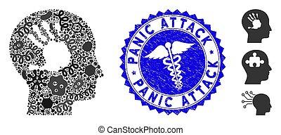 doutor, arranhado, colagem, ataque, pânico, imprinting, pathogen, mental, selo, ícone